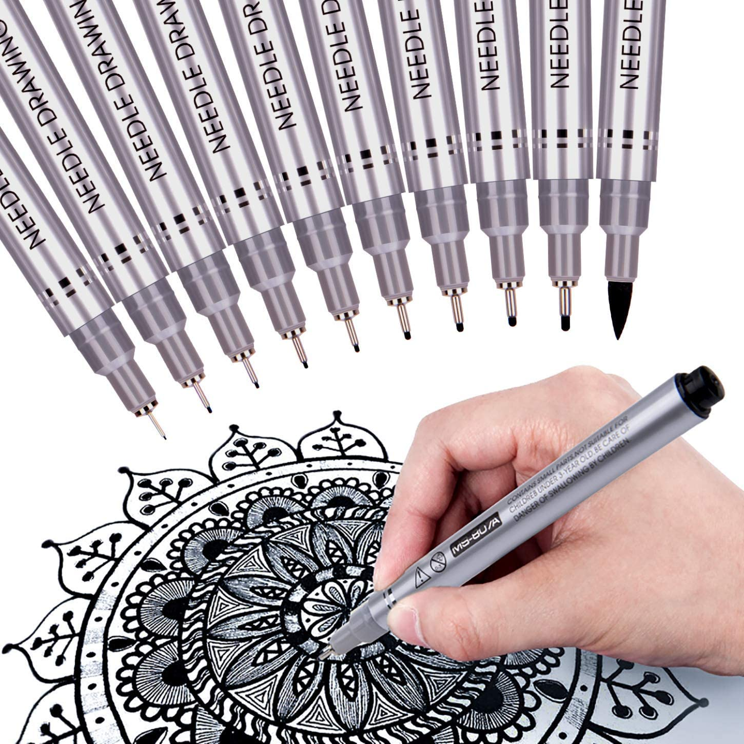 Set of 9 Black Fineliner Pens,Micro-Pen Ink Bullet Journaling,Waterproof Archival Ink Micro Fine Point Drawing Pens for Sketching Comic Manga Illustration Anime Drawing