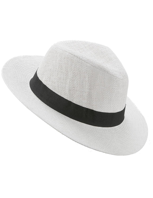 77551dc48496 generique Adults white Panama hat with black band: Amazon.co.uk: Toys &  Games