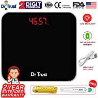 Dr Trust (USA) Electronic Eco Zeus Rechargeable Digital Personal Weighing Scale For Human Body (USB Cable, Thermometer, Measuring Tape Included)