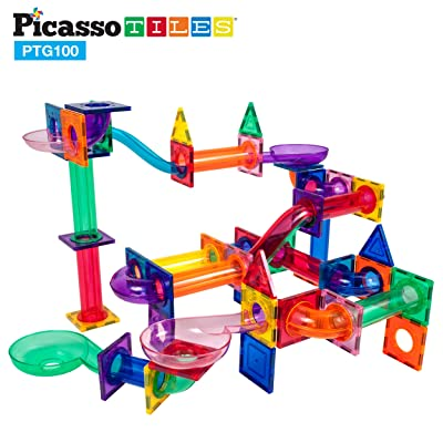 PicassoTiles Marble Run 100 Piece Magnetic Tile Race Track Toy Play Set STEM Building & Learning Educational Magnet Construction Child Brain Development Kit Boys Girls Age 3 4 5 6 7 8+ Years Old Toys: Toys & Games