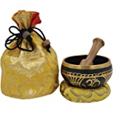 DharmaObjects ~ Tibetan OM Singing Bowl Set ~ With Mallet, Brocade Cushion & Carry Bag ~ For Meditation, Chakra Healing, Prayer, Yoga