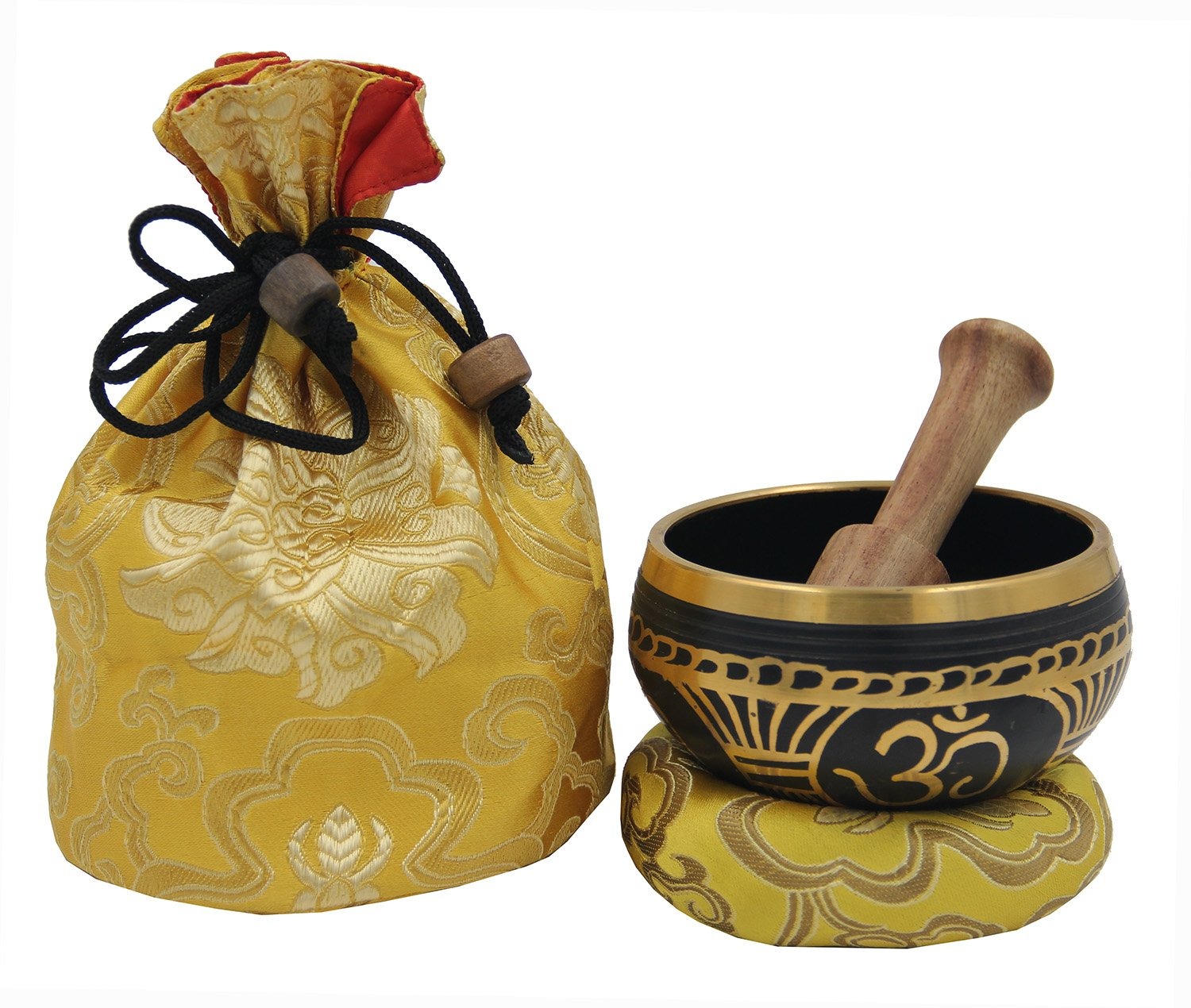 DharmaObjects ~ Tibetan OM MANI Singing Bowl Set ~ With Mallet, Brocade Cushion & Carry Bag ~ For Meditation, Chakra Healing, Prayer, Yoga (Turquoise) Lungta Imports