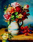 5D Diamond Painting, Full Drill DIY Rhinestone Embroidery Cross Stitch Arts Craft for Home Wall Decor Flowers and Fruits 12x16 inch