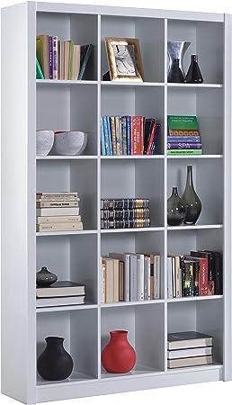 Habitdesign 005493BO - Estantería librería Triple, Color Blanco Brillo, Medidas 195 x 114 x 30 cm de Fondo