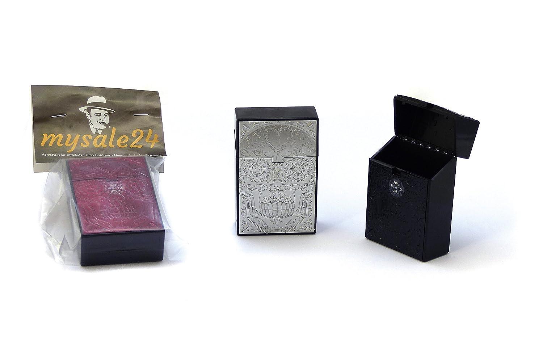 Ausf/ührungen Kunststoffbox f/ür 19-21 Zigaretten Zigarettenbox versch Zigarettenetui Zigarettencase Totenkopf rot