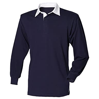 98f63df4 Front Row Long Sleeve Classic Rugby Shirt, 14 Colours, Small to - Navy/