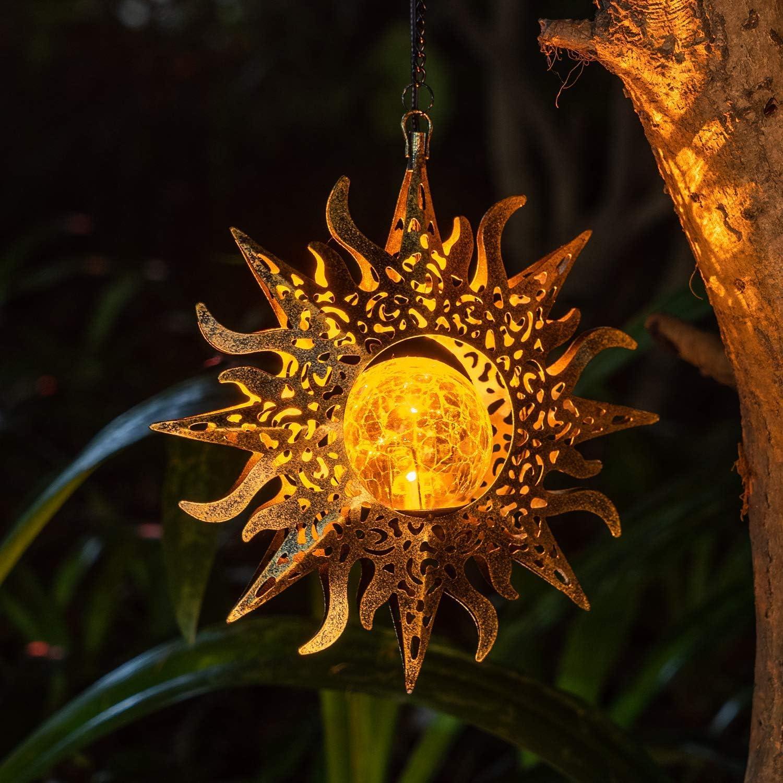 Solar Garden Lights Outdoor Decor Hanging Lanterns Decoration Metal Sunflower Gifts Waterproof for Outdoor Hanging Garden Decorations