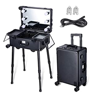 Byootique Rolling Makeup Case with Mirror Light 20inch Carry-on Cosmetic Storage Luggage Travel Adjustable Leg Extendable Tray