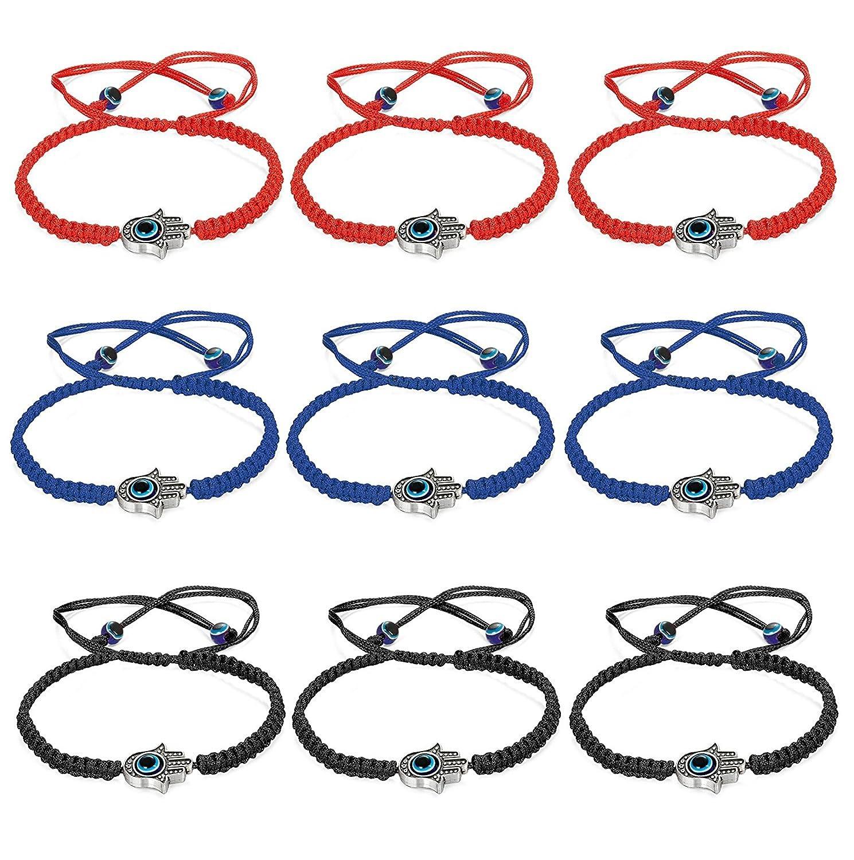 sailimue 9 Pcs Bracelet Tressé Porte-bonheur pour Homme Femme Unisex Bracelet Corde Evil Eye Réglable Rouge Noir Bleu DDE-XYS9