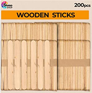 Popsicle Stick Premium Quality - 200 psc Wooden Popsicle Sticks Small Strong - Unusual Size Stable Wood Sticks Craft - Durable Jumbo Sticks - Perfect for Craft and Creativity