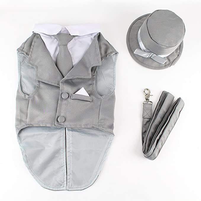 Midlee Dog Tuxedo Wedding Suit- Gray Top Hat & Leash by (XX-Large)