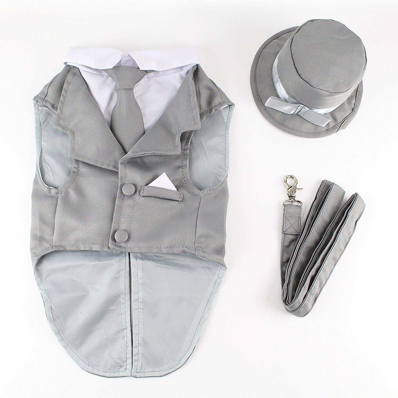 Midlee Dog Tuxedo Wedding Suit- Gray Top Hat & Leash (Medium)
