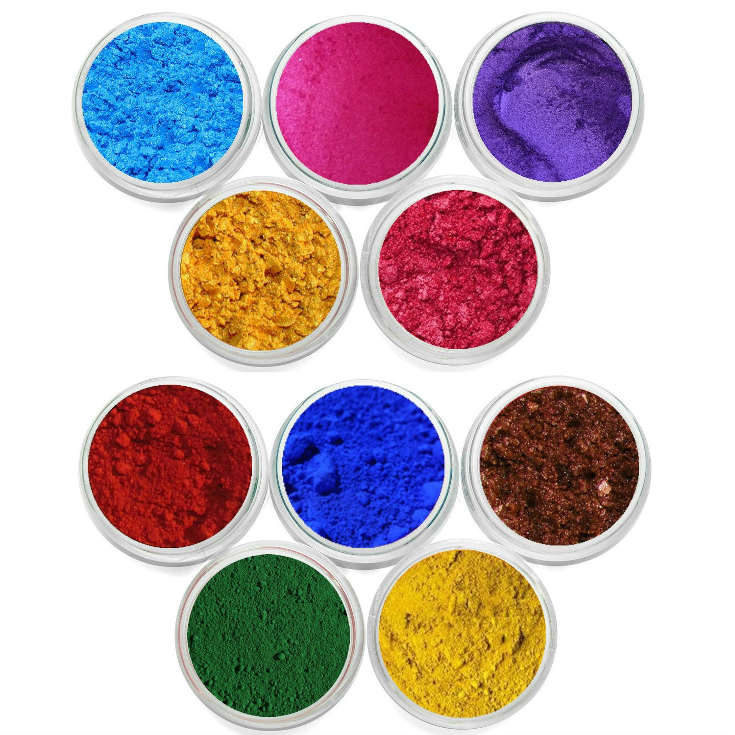 10 Piece Mineral Makeup Soap Dye Shimmer & Matte Bright Pigment Cosmetic Grade Soap Colorant DIY KIT Soap Making Color Each Color Is Packed In 3 Gram Size Jar Myo 10 Piece Set # 1 & 2