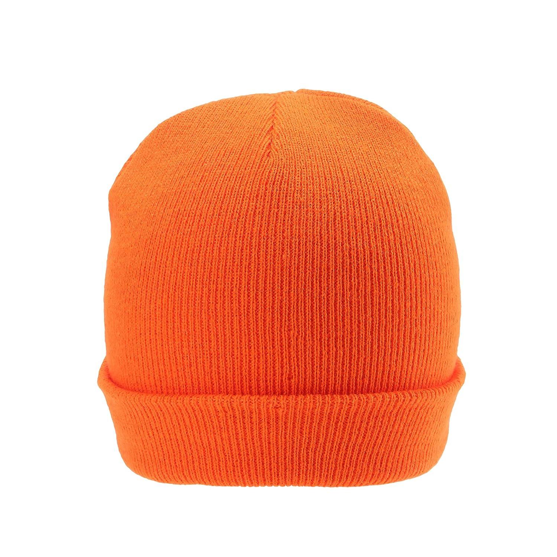 AYKRM Berretto in Maglia Giallo Arancione Fluo