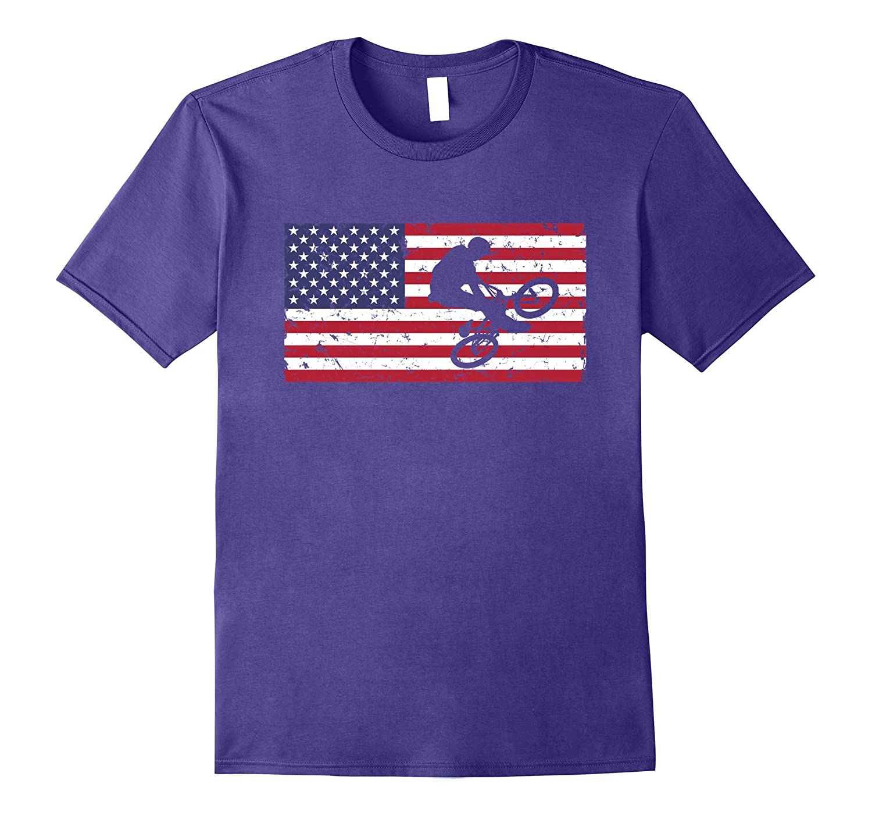 American Flag Bmx T-shirt Vintage Casual Unisex Top Tee-PL
