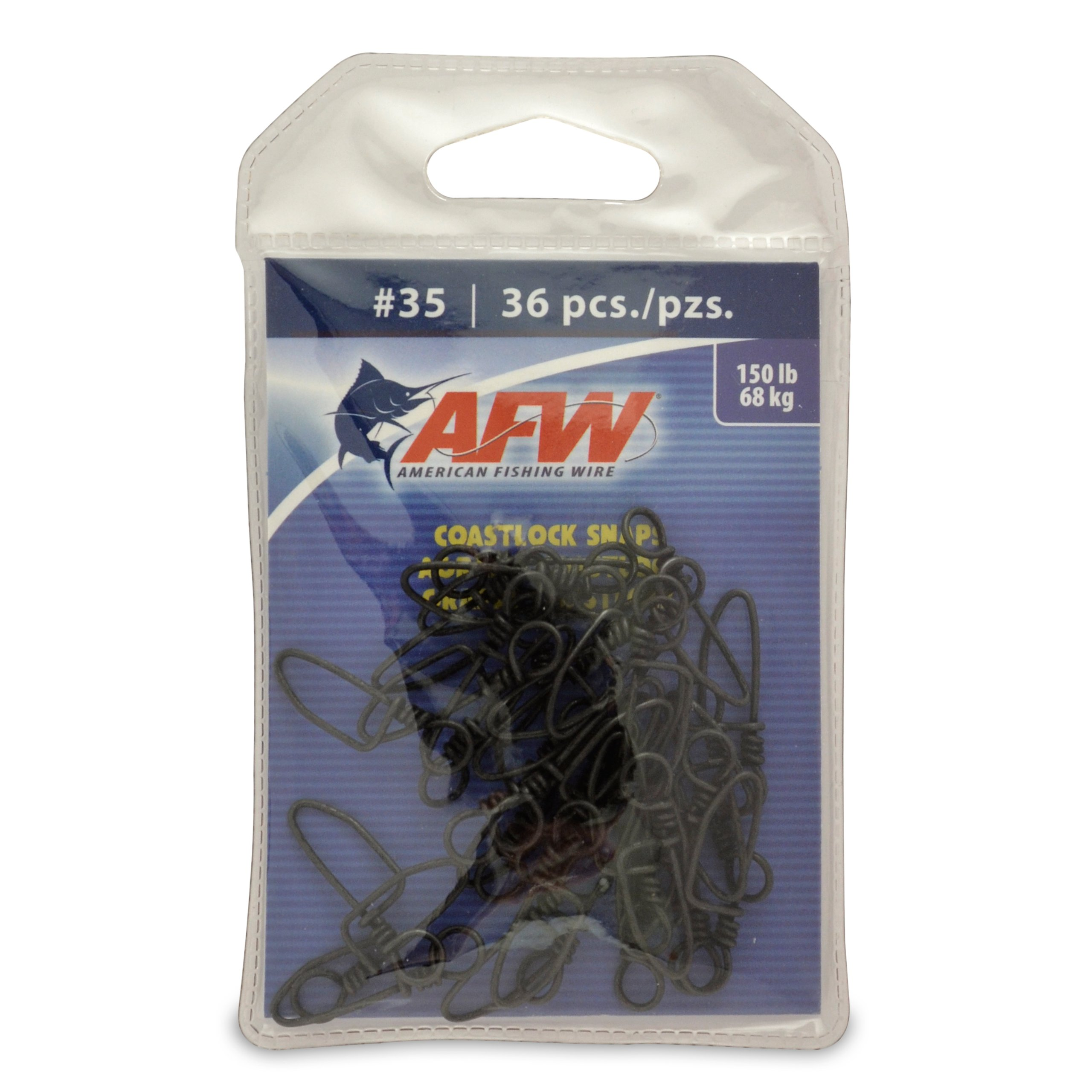 American Fishing Wire Brass Coastlock Snaps, Black Color, Size 35, 150 Pound Test, 36-Pieces