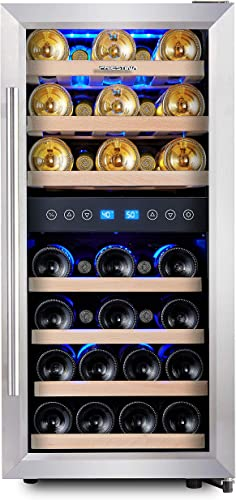 Phiestina Dual Zone Wine Cooler Refrigerator 33 Bottle Free Standing Compressor Fridge And Chiller For Red And White Wines 16 Glass Door Wine Refrigerator With Digital Memory Temperature Control Appliances