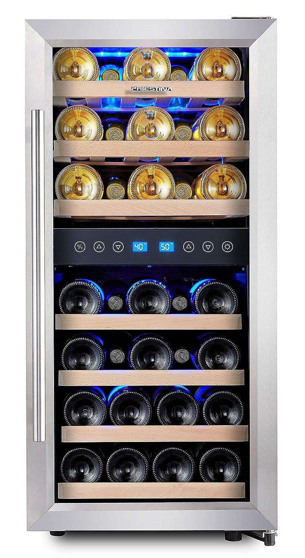 Phiestina 33 Bottle Compressor Wine Cooler Dual Zone Wine Refrigerator with Glass Door