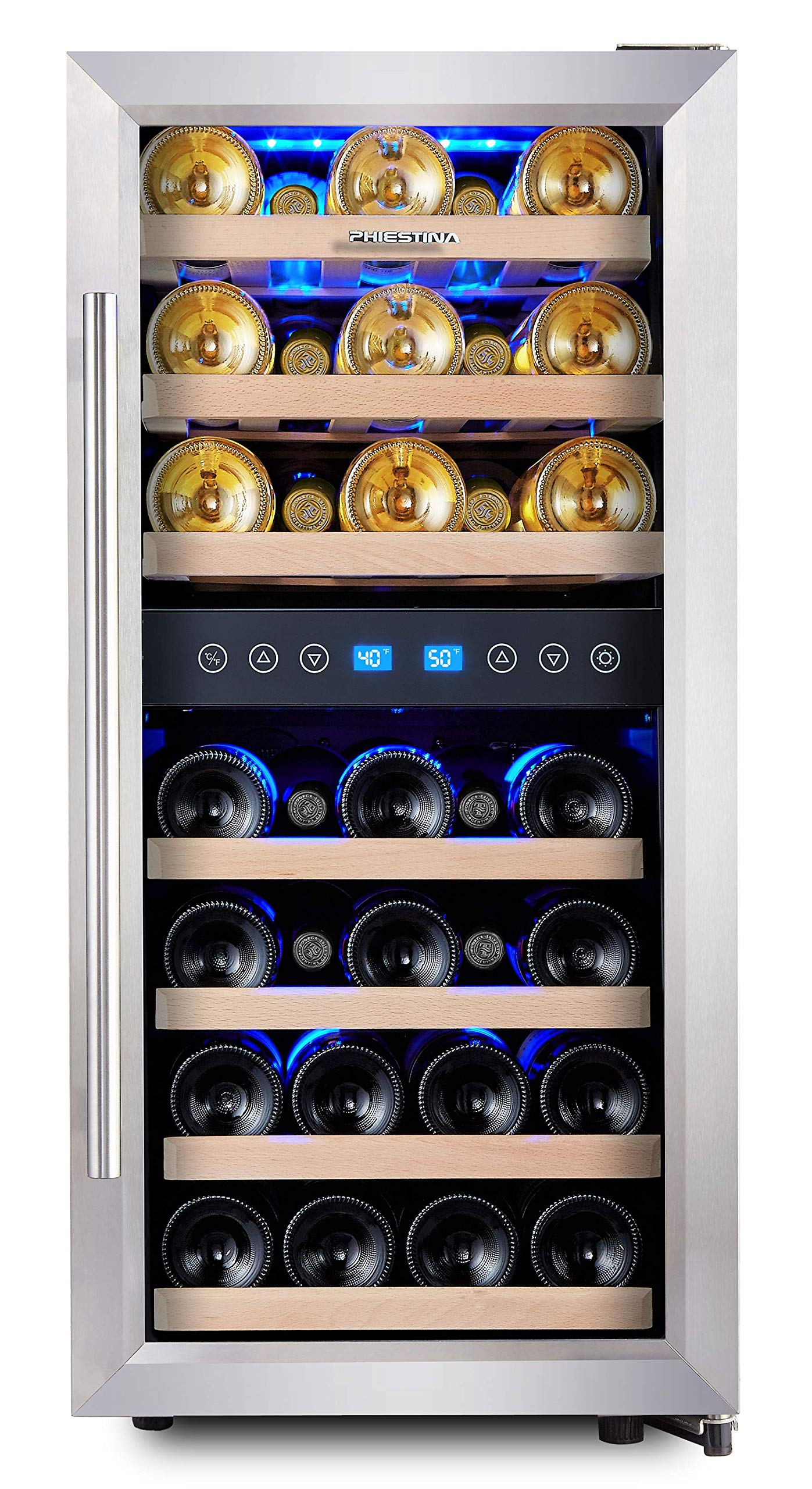 Phiestina Dual Zone Wine Cooler Refrigerator - 33 Bottle Free Standing Compressor Fridge and Chiller for Red and White Wines - 16'' Glass Door Wine Refrigerator with Digital Memory Temperature Control by Phiestina