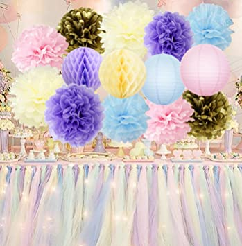 Uicorn Party Supplies Unicorn Colour Cream Pink Blue Purple Gold Tissue Paper Pom Honeycomb Balls