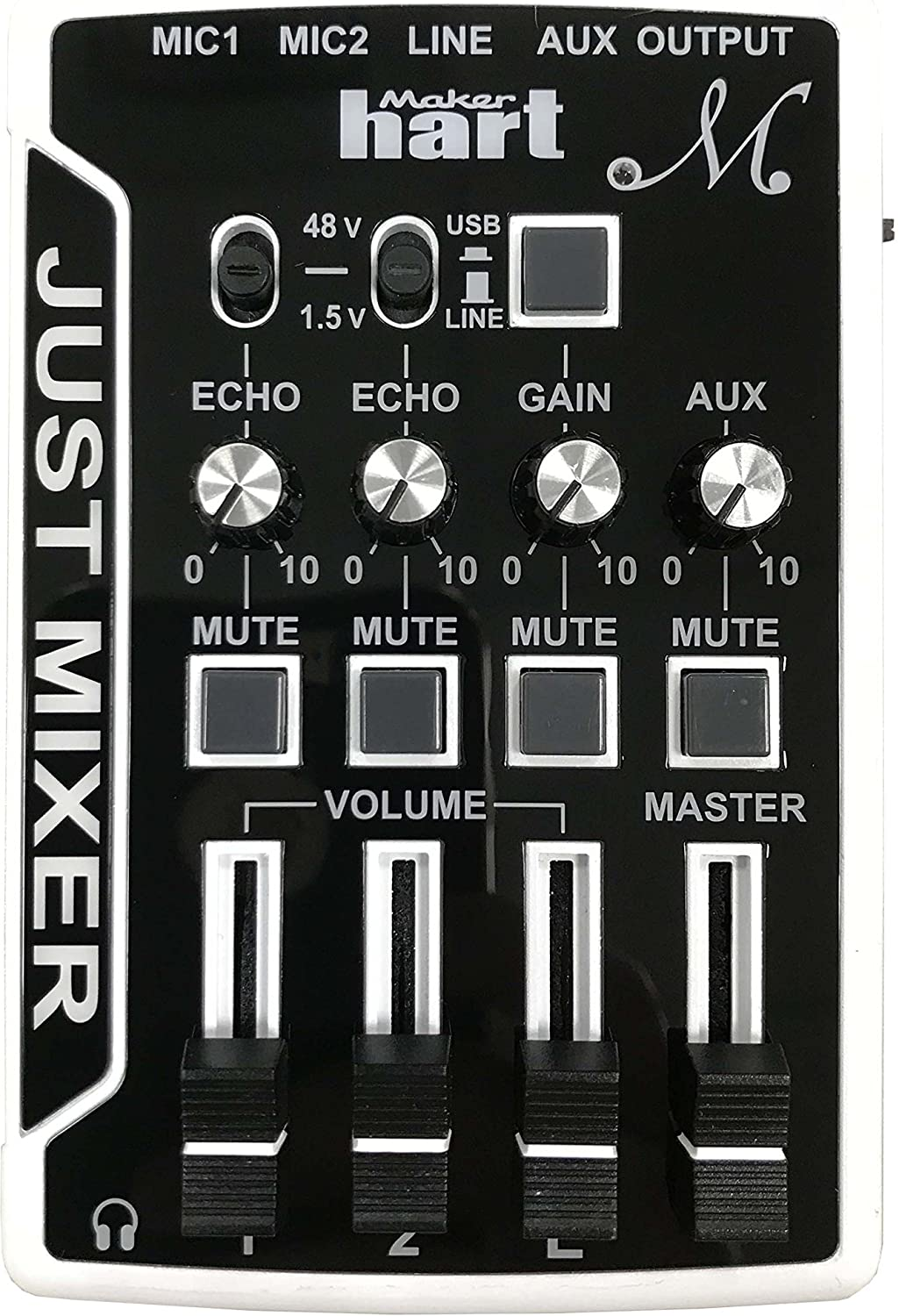 Maker Hart Just Mixer M - Mini Microphone Mixer with Preamp for Phantom Power, USB Audio Input and Output (Premium Package, Black)