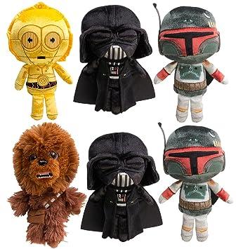9e58fd2b627 Amazon.com  Star Wars (Set of 6) Disney Galactic Plushies Cute Stuffed  Animals Plush Toys For Kids   Adults Darth Vader Chewbacca Boba Fett C3PO  by Funko  ...