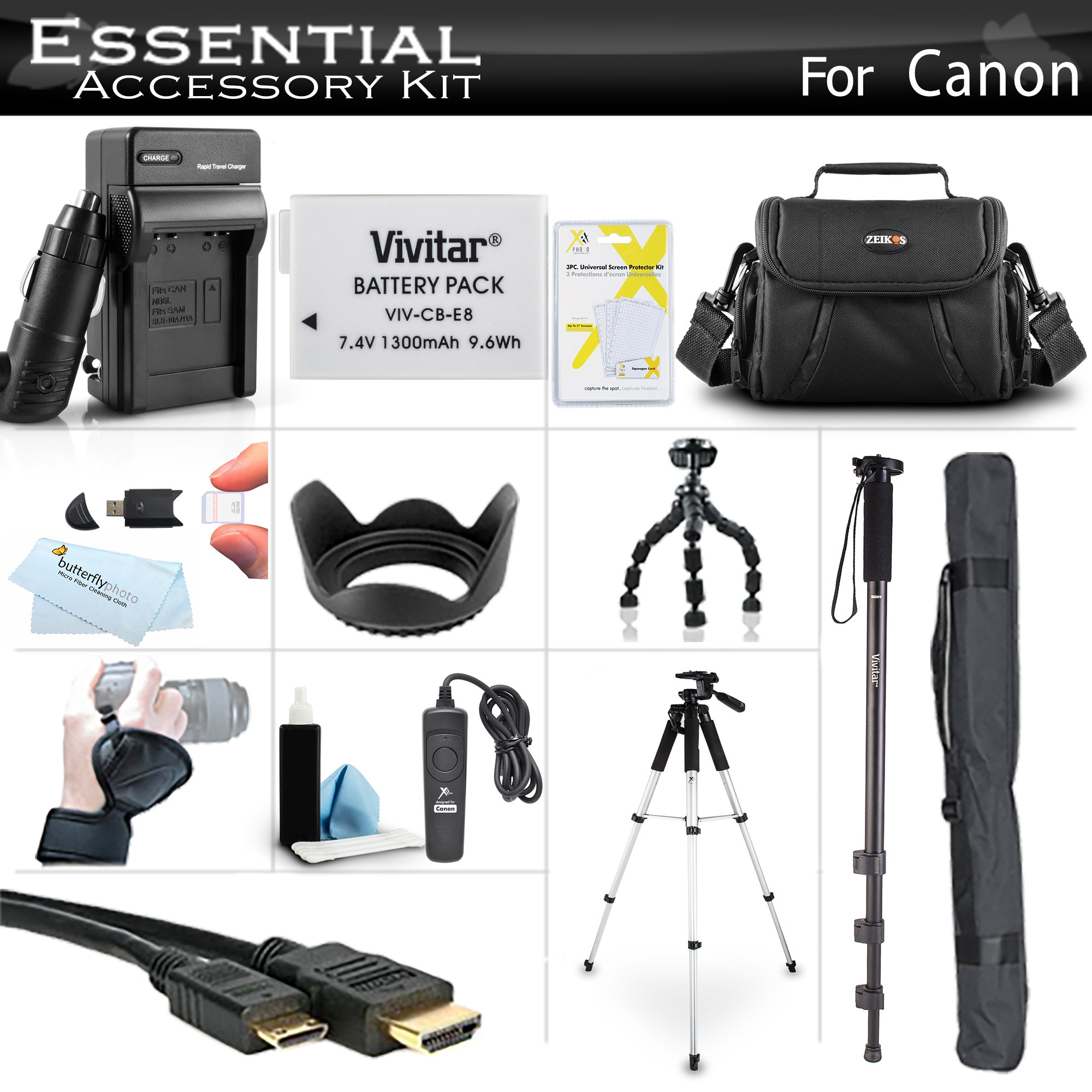 Essential Accessory Kit for Canon EOS Rebel T5i, T4i, T3i Digital SLR Camera Includes Replacement LP-E8 Battery + Charger + Case + Remote Switch + 57 Tripod + 10 Flexible Tripod + 67 Monopod + More