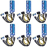 Optimal Shop PCI Express 16x to 1x Powered Riser Adapter Card w/60cm USB 3.0 Extension Cable and 6-Pin PCI-E to SATA Power Cable-GPU Riser Extender Cable-Ethereum Mining ETH (6 Pack 6 Pin)