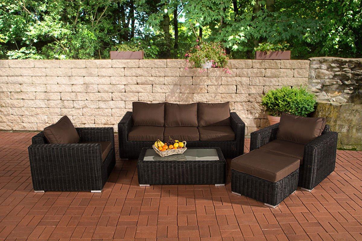 CLP Polyrattan Gartengarnitur MADEIRA 3-1-1 schwarz, 3er Sofa & 2 Sessel inkl. Sitz- und Rückenpolster, Hocker, Tisch, FARBWAHL schwarz, Bezugfarbe terrabraun
