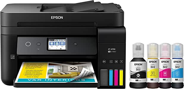 Epson Workforce ET-4750 EcoTank Wireless Color All-in-One Supertank Printer with Scanner, Copier, Fax and Ethernet Epson Workforce ET-4750 EcoTank All-in-One