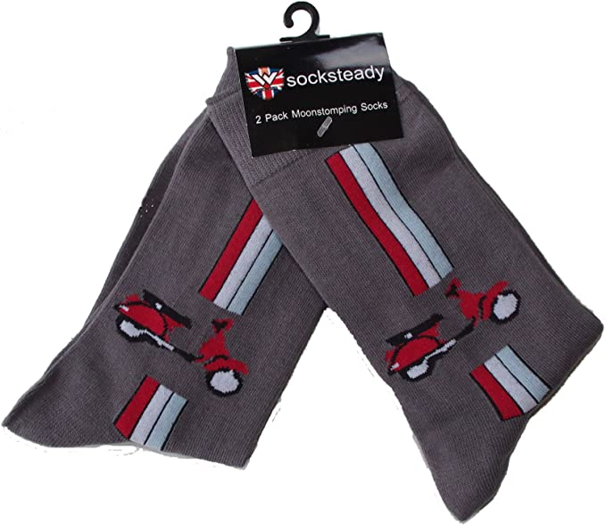 Size Grey Socks Red Vespa Pairs Shoe With Of DesignGreyFits 2 10 5 Mens Pack ED2IH9W