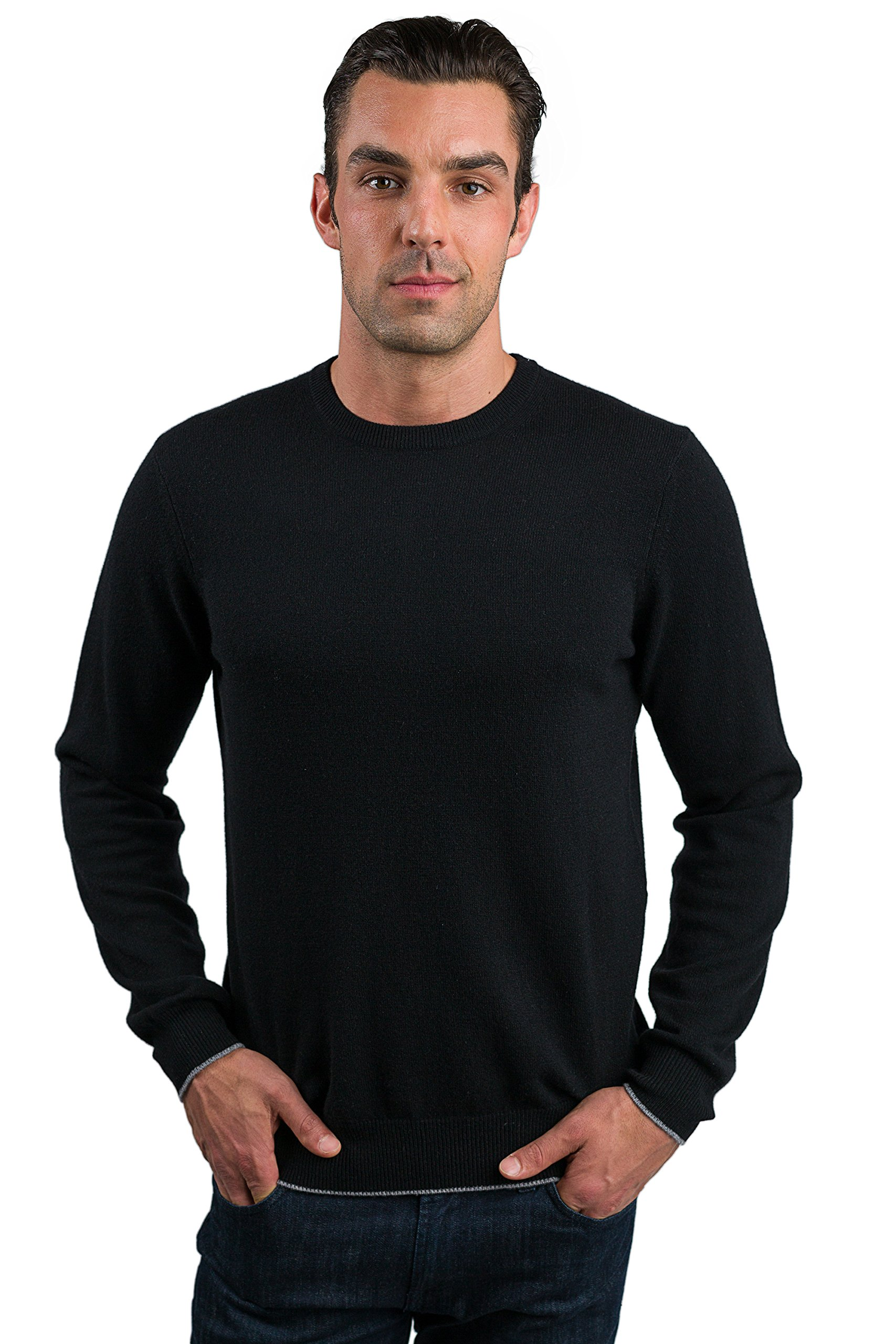 JENNIE LIU Men's 100% Cashmere Long Sleeve Crewneck Sweater (Large, Black) by JENNIE LIU