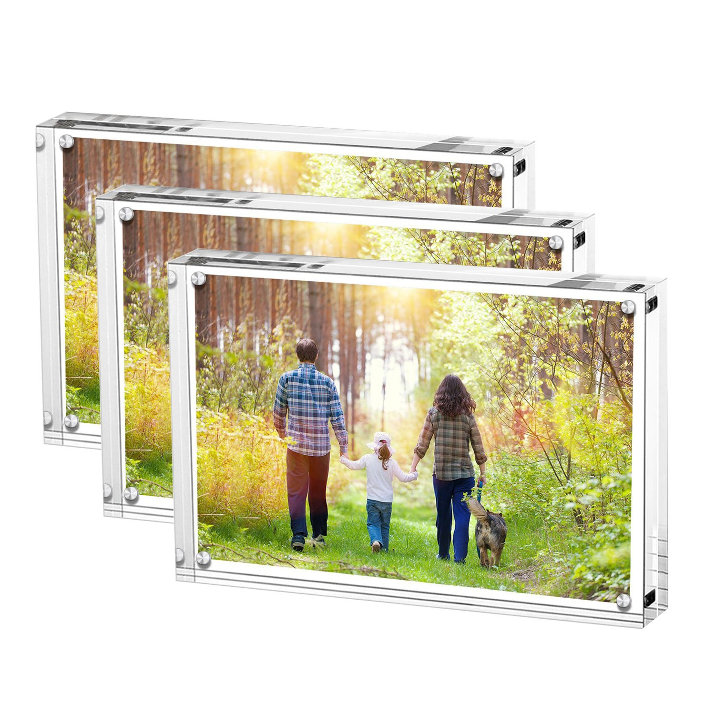 Bilderhalter Acryl, 15 x 10 x 2 cm, Glasklar, aus hochwertigem Acryl, 3 Stück, Transparent (6\
