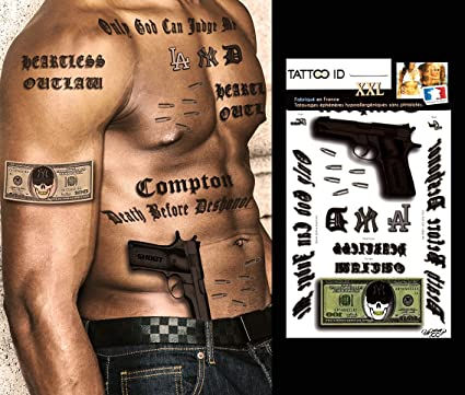 Tattoo ID XXL Gangstar Rap Hip Hop Gun Phrases billete dólar ...