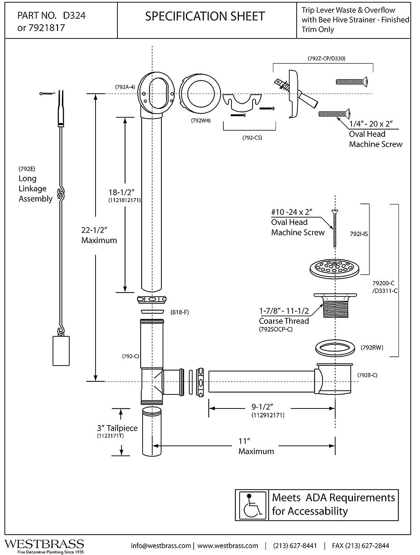Westbrass D324-26 22-1/2-Inch 17 Gauge Brass Trip Lever Bath Waste ...