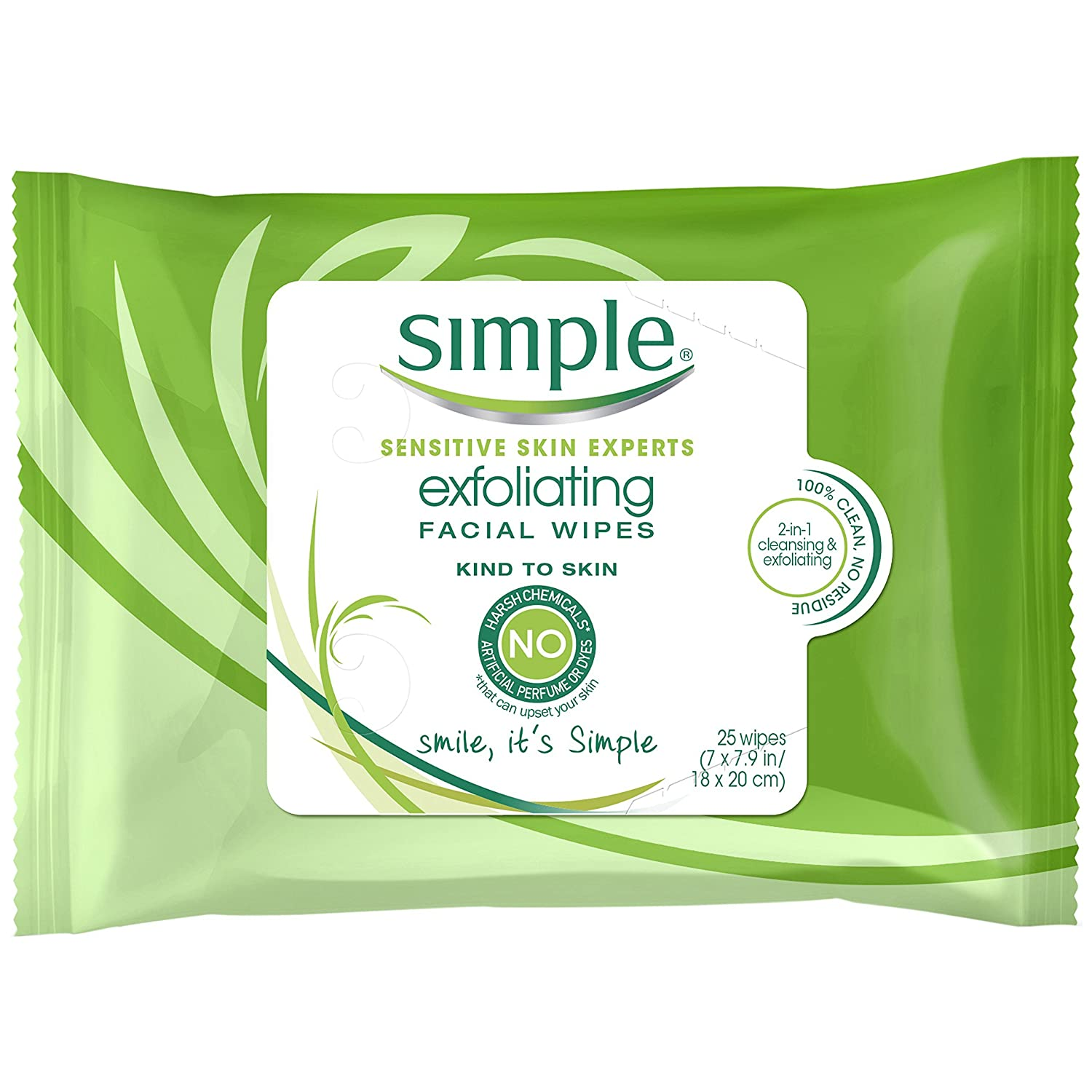 Simple Facial Wipes, Kind to Skin Exfoliating 25 ct 10087300700042