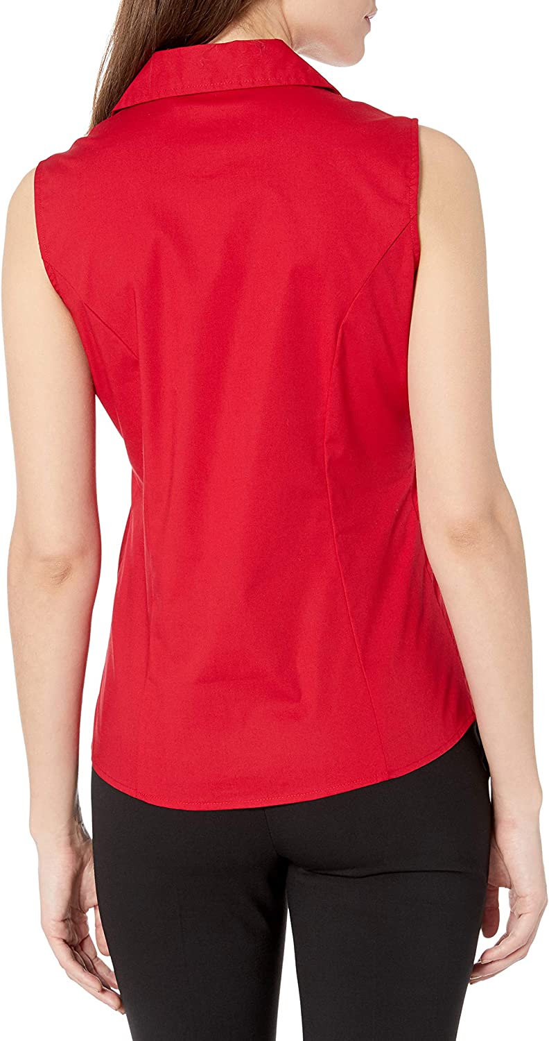 Riders by Lee Indigo Womens Sleeveless Easy Care Button Front Woven Shirt Shirt