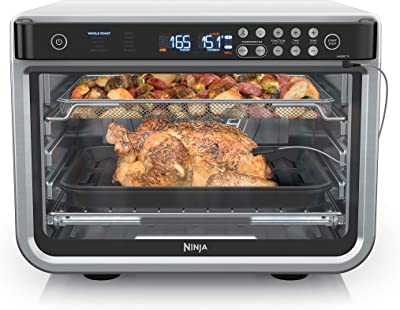 Ninja DT251 Foodi 10-in-1 Smart XL Air Fry Oven, Bake, Broil, Toast, Air Fry, Air Roast, Digital Toaster, Smart Thermometer, True Surround Convection, includes Recipe Book, 1800 Watts, Steel Finish
