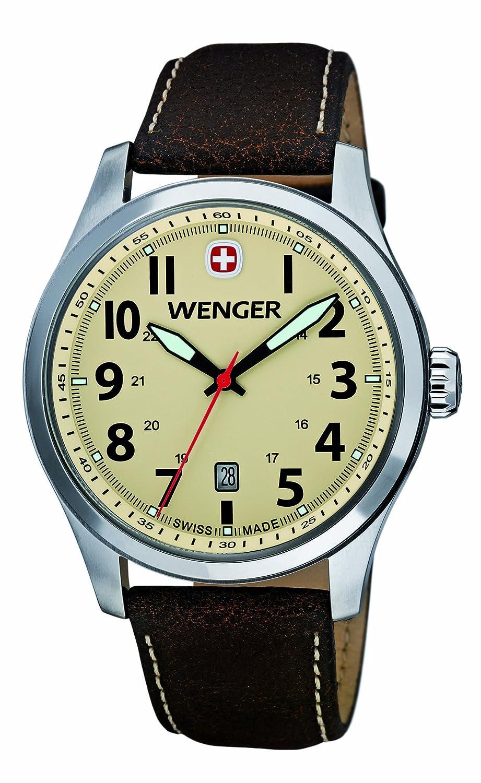 Wenger 10541106 - Reloj analógico de cuarzo para hombre con correa de piel, color marrón