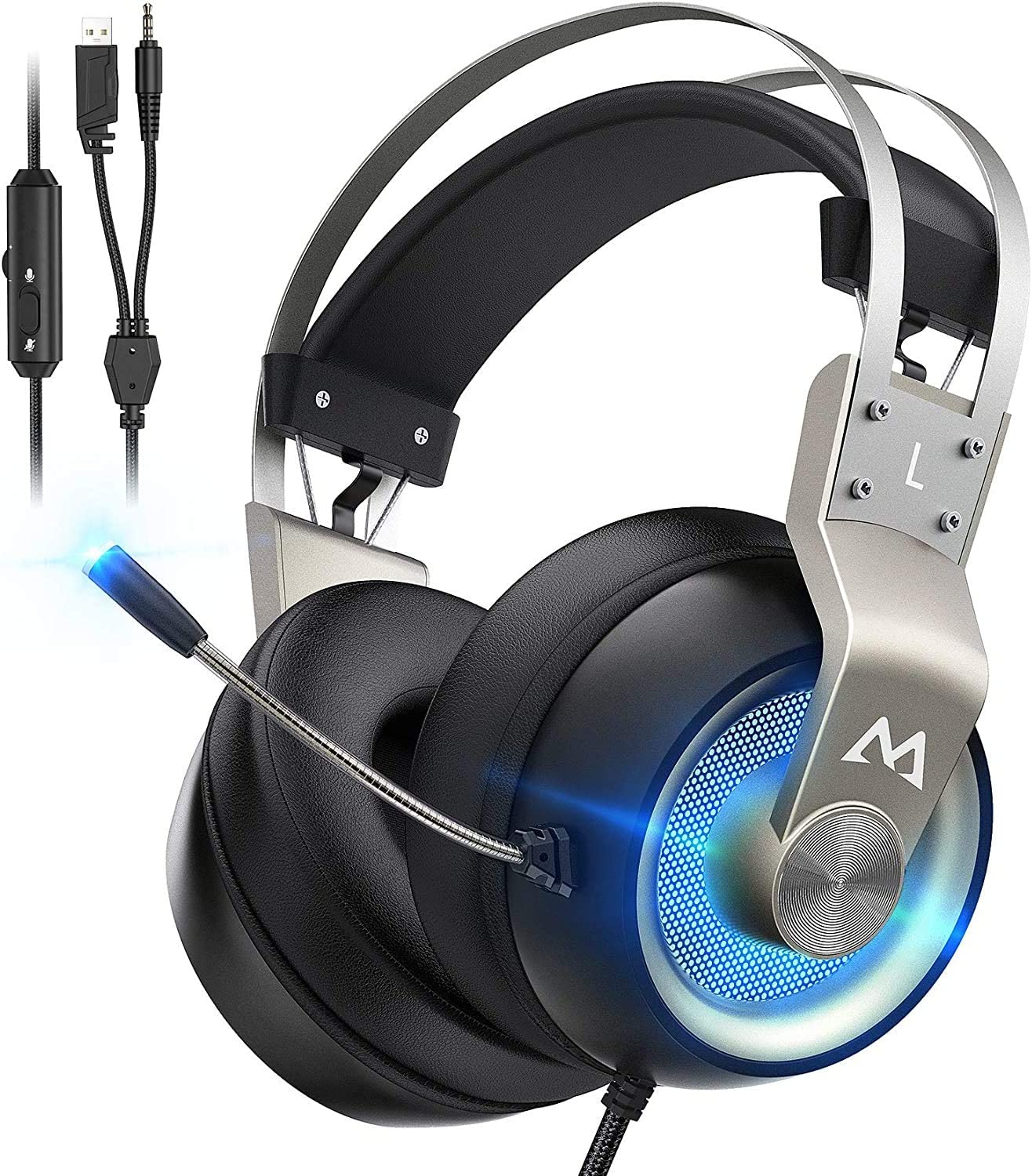 Mpow EG3 Pro Gaming Headset Xbox One Headset with 7.1 Surround Sound, PC PS4 Headset with Noise Canceling Mic & LED Light, Compatible with PC, PS4, PS5, Switch, Xbox One Controller