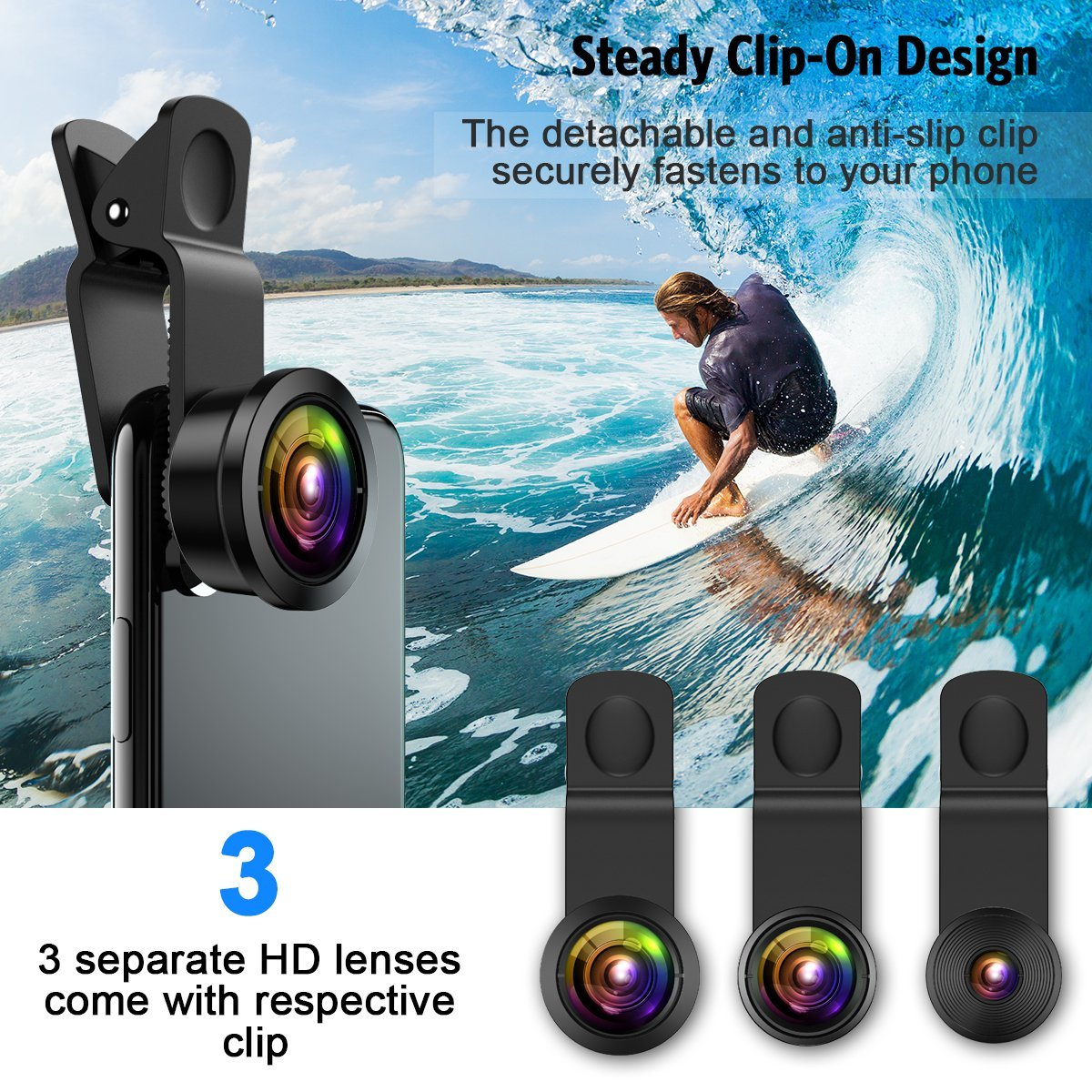 [Upgraded] AMIR For iPhone Camera Lens, 0.4X Super Wide Angle Lens + 195° Fisheye Lens & 15X Macro Lens, 3 IN 1 Cell Phone Camera Lens For iPhone X, iPhone 8/7 Plus, Samsung, Other Smartphones by AMIR (Image #6)