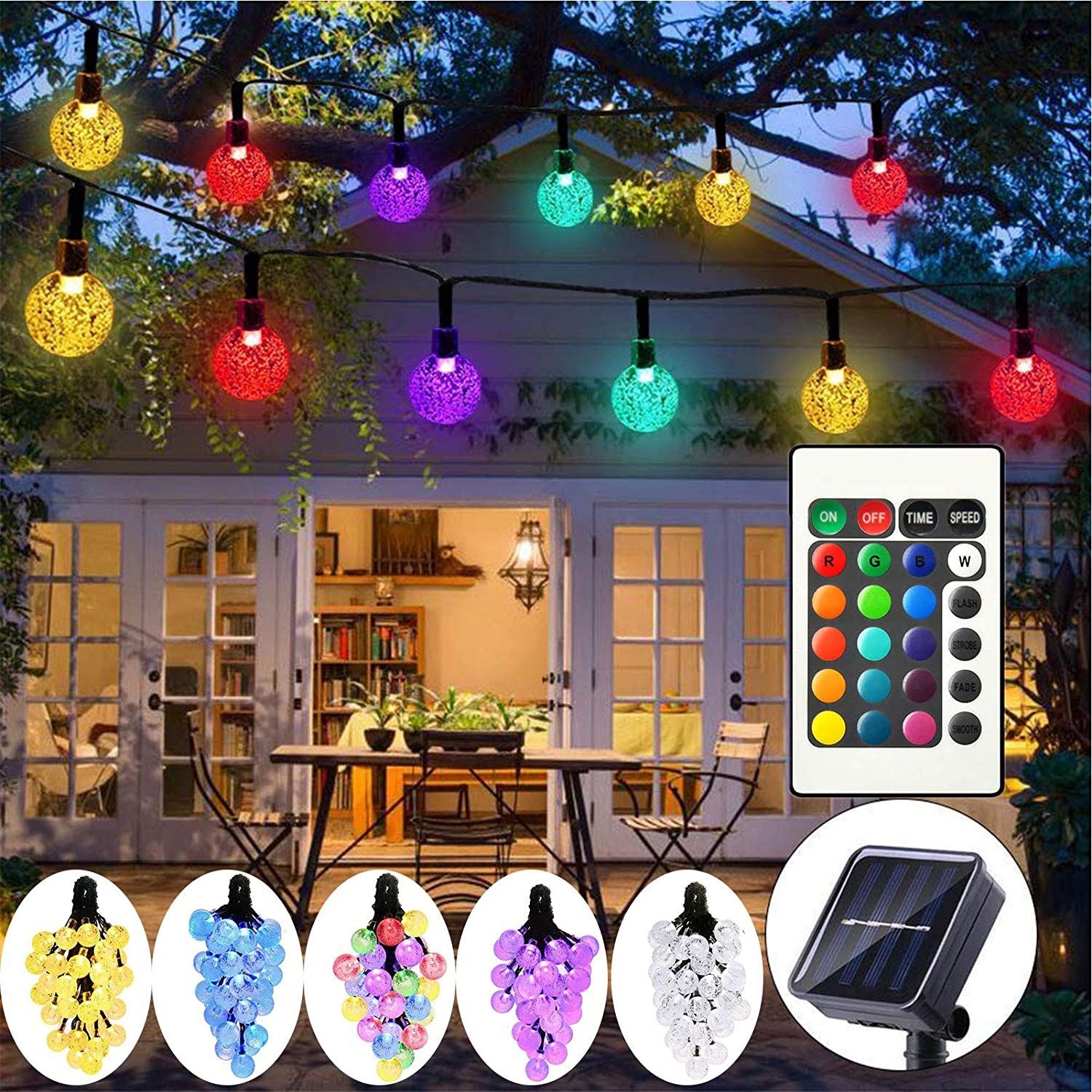 DreiWasser Solar String Lights Garden, 50 LEDs Globe Fairy Light 16 Colors Changing 16.4ft Waterproof Outdoor Crystal Ball Lights with Remote Control for Yard Party Patio Landscape Decoration