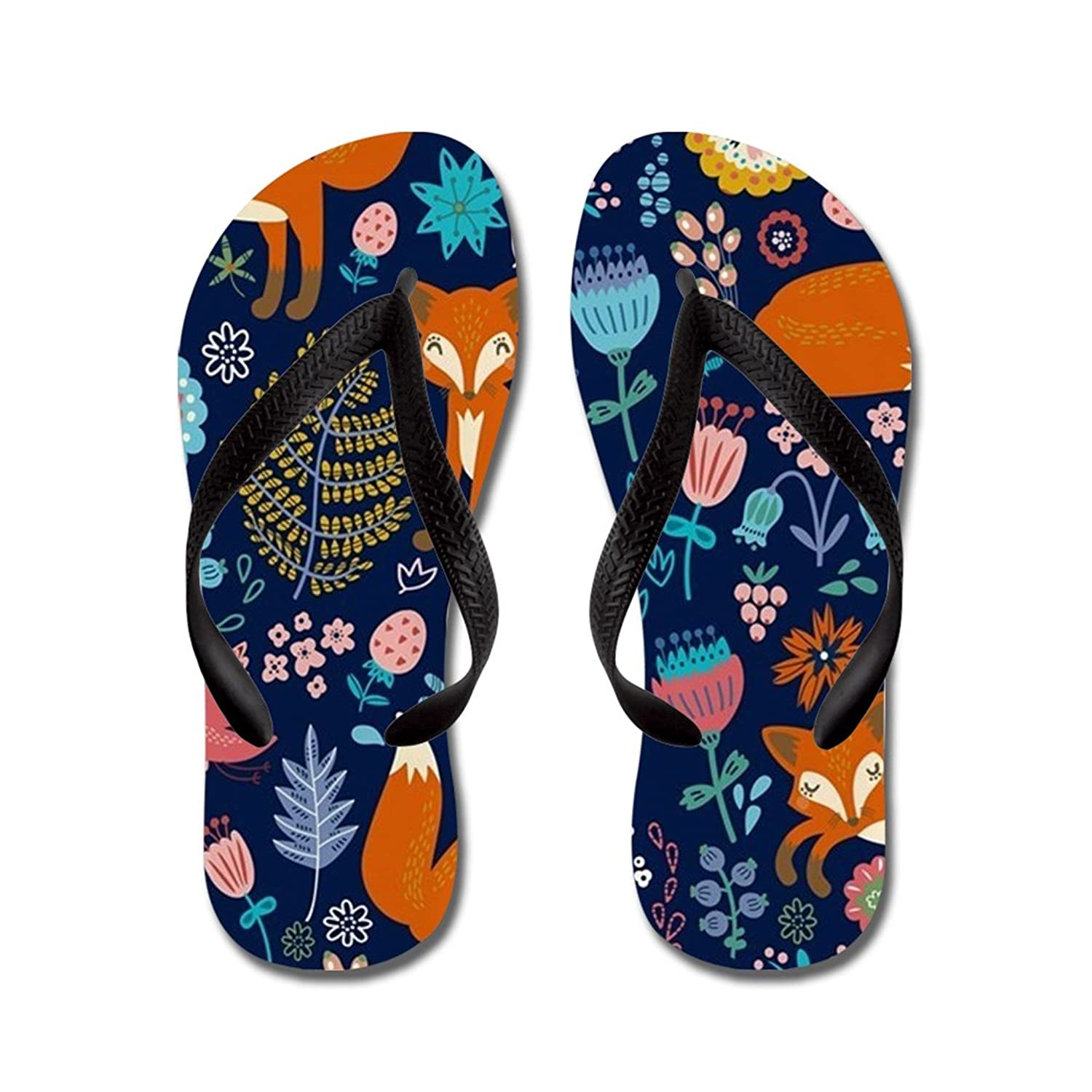 Lplpol Floral Cute Fox Pattern Flip Flops for Kids and Adult Unisex Beach Sandals Pool Shoes Party Slippers
