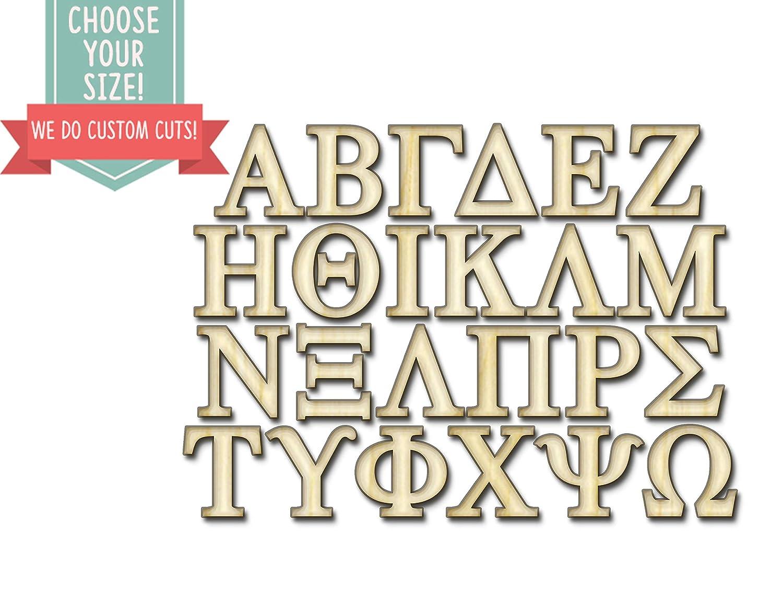 JaredSign Greek Letters Wood Cut Out Custom Laser Cut Wooden Art Craft Supplies Wall Hanging Decor Wedding Nursery