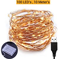 TIED RIBBONS 10 Meter 100 LED Fairy String Lights - USB and Battery Operated - Decorative Lights for Home Wall Diwali Lighting Decoration