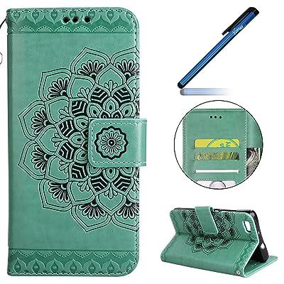 Coque Huawei P8 Lite, Étui Housse Huawei P8 Lite, Yheng Huawei P8 Lite Étui Housse Portefeuille en Cuir Couture Fleurs de couleur PU Leather Flip Folio Case Cover Coque pour Huawei P8 Lite Wallet Pouch Protectio