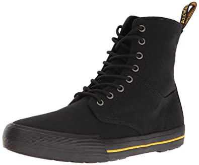 Dr.Martens Womens Winsted 8-Eyelet Black Canvas Boots 6 US
