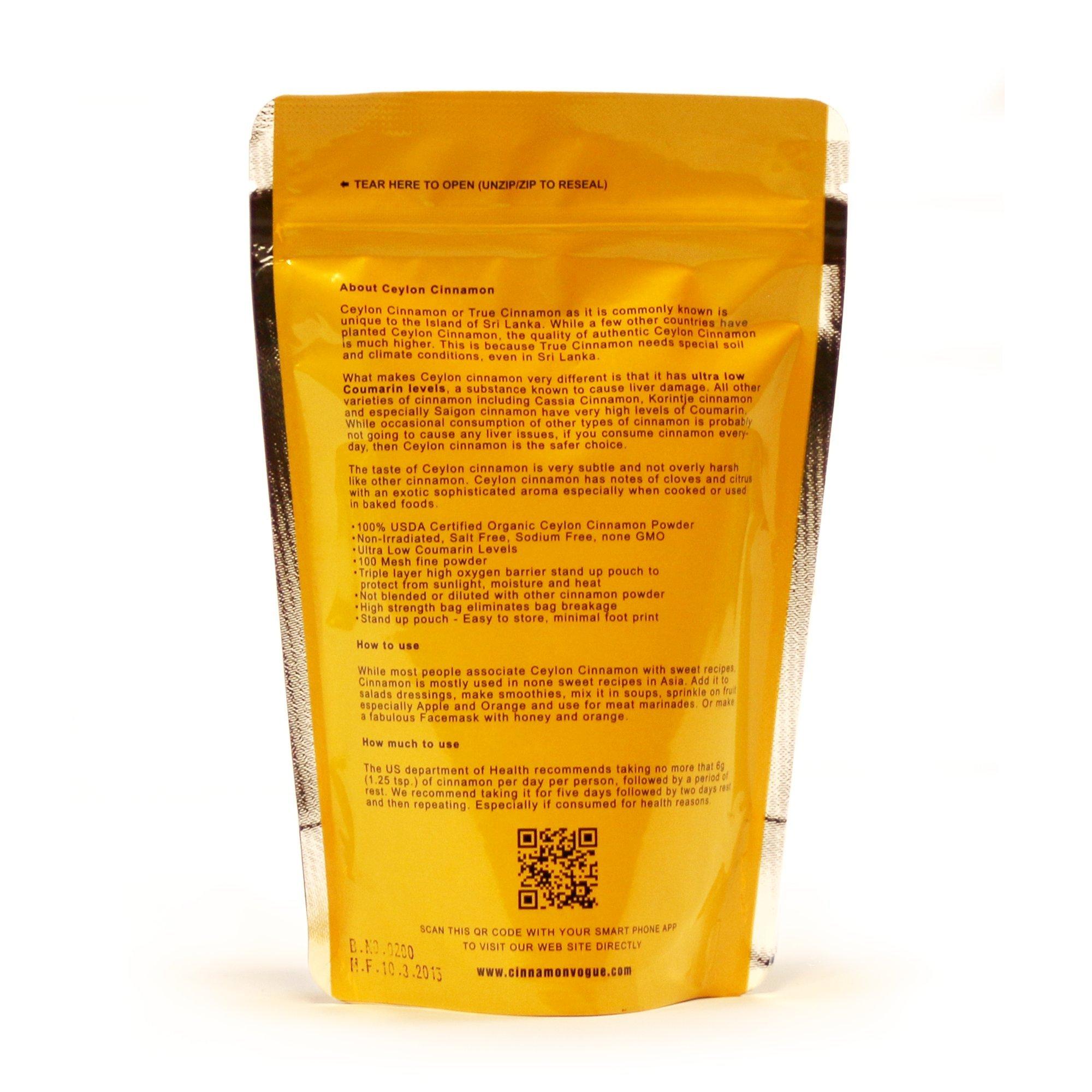 Ceylon Cinnamon Powder – 6 oz. (100% USDA Organic) - Ultra Premium Fine 100 Mesh Powder, Salt Free, Non irradiated, Low Coumarin by Cinnamon Vogue (Image #3)