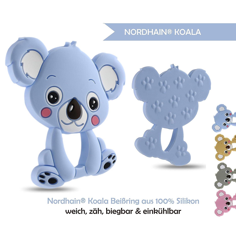 Nordhain - Blauer Koala Beißring für Babys aus zertifiziertem Silikon - hochwertiger Freund deines Babys für sanfte Zahnungshilfe