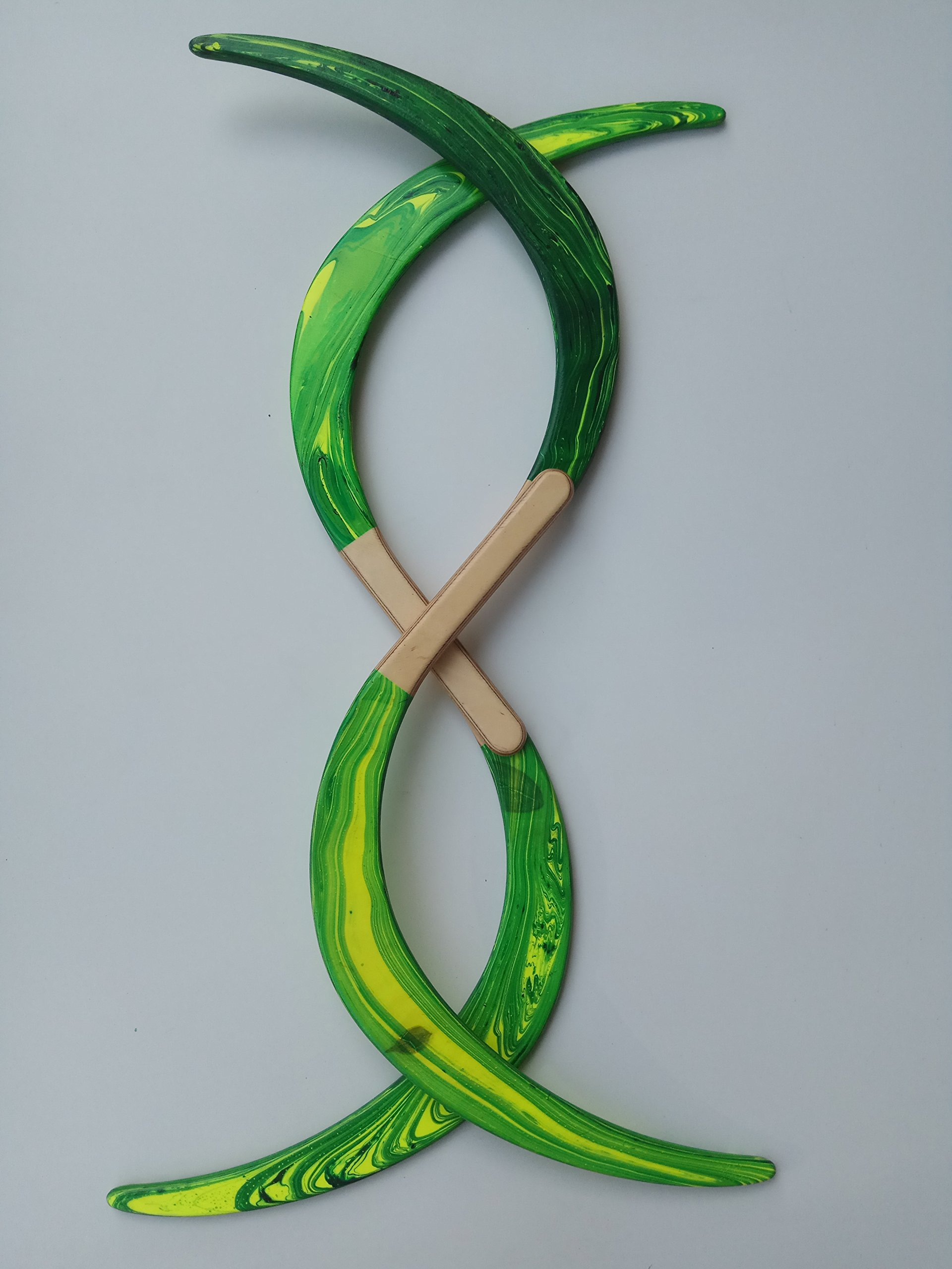 Swirl Buugeng Juggling S Staff S Staves Bugeng Hand Made 2 Pieces Yellow and Green Glows in UV Carry Bag by Buugeng Flow Master J.A.H (Image #7)
